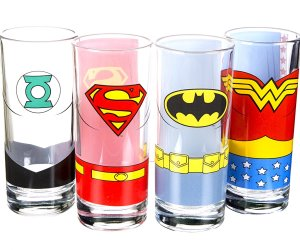 idee regalo originali set 4 bicchieri justice league