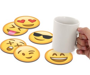 idee regalo originali set 6 sottobicchieri emoticon